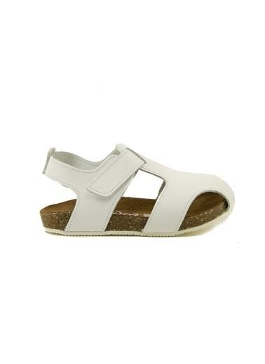 minipicco Minipicco Unısex Beyaz Deri Ortopedik Destekli Çocuk Sandalet Beyaz